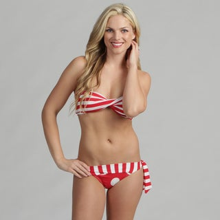 Poko Pano Junior's Red and White Striped Bandeau Bikini Set