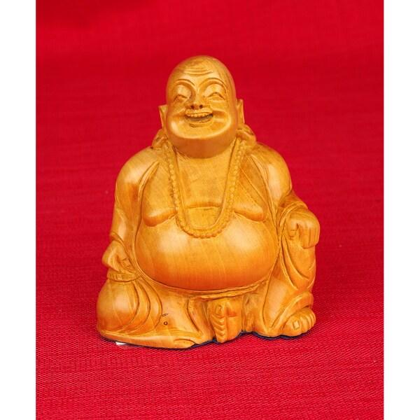Hand-carved Kadam Wood Laughing Sitting Buddha Decorative Figurine (India)