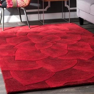 nuLOOM Handmade Bold Abstract Floral Wool Rug