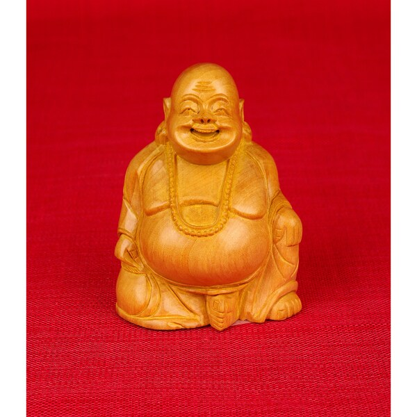 Hand-carved Kadam Wood Laughing Sitting Buddha Figurine (India)
