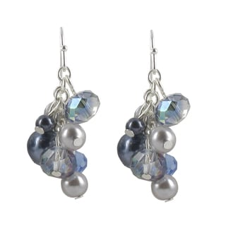 Roman Silvertone Blue and Grey Faux Pearl and Faceted Bead Earrings