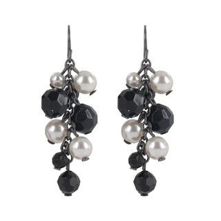 Roman Silvertone Cream Faux Pearl and Faceted Black Glass Earrings