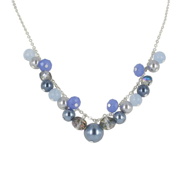 Roman Silvertone Blue and Grey Faux Pearl and Faceted Crystal Necklace