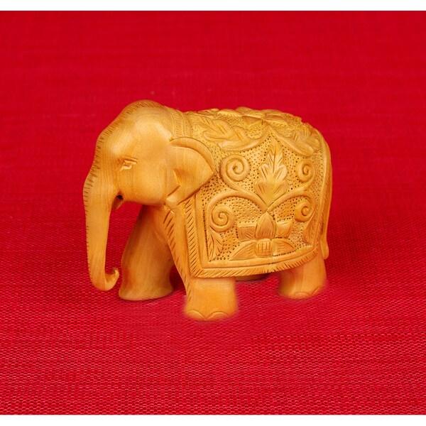 Hand-carved Kadam Wood Elephant Figurine (India)