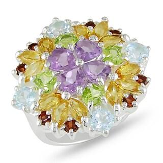 Miadora Highly Polished Sterling Silver Multi-gemstone Ring