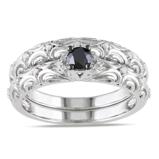 Haylee Jewels Sterling Silver 1/3ct TDW Diamond Bridal Ring Set (H-I, I2-I3)