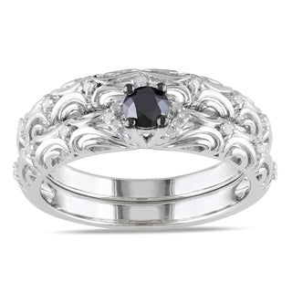 M by Miadora Sterling Silver 1/3ct TDW Diamond Bridal Ring Set (H-I, I2-I3)
