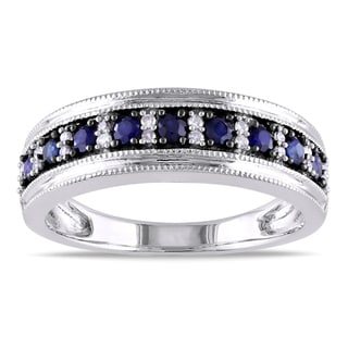 Miadora 10k Gold Sapphire and 1/10ct TDW Diamond Eternity Ring (G-H, I1-I2)