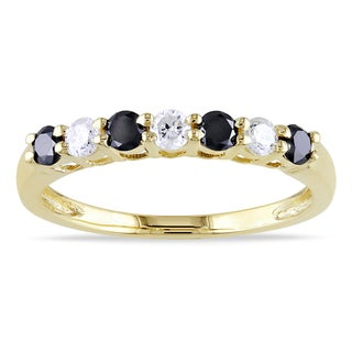 New! Miadora 10k Gold 1/2ct TDW Black and White Diamond Ring (H-I, I2-I3)