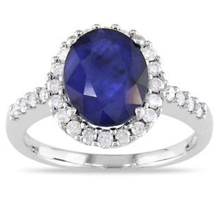 Miadora 14k Gold Sapphire and 2/5ct TDW Diamond Ring (G-H, I1-I2)