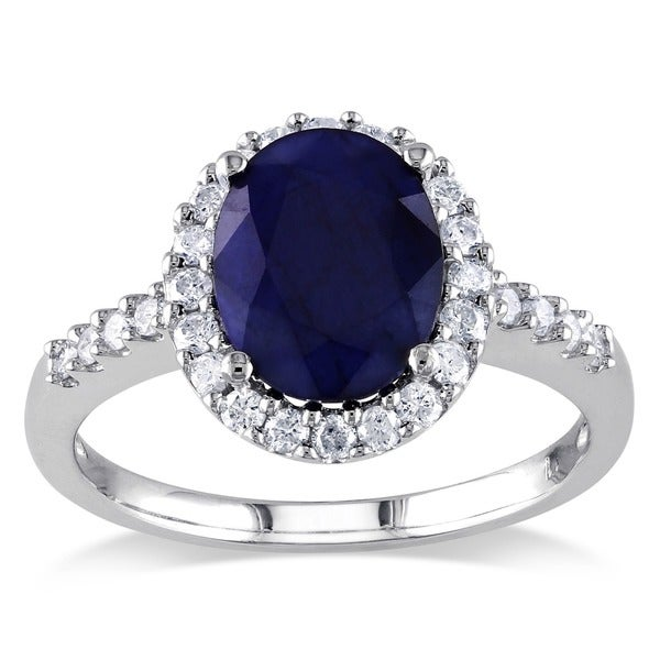 Miadora 14k White Gold Oval Diffused Sapphire and 2/5ct TDW Diamond Halo Ring