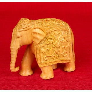 Kadam Wood Elephant Carving (India)