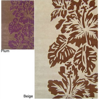 nuLOOM Handmade Bold Leaves Wool Rug
