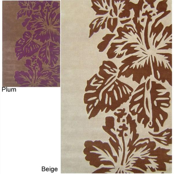 nuLOOM Handmade Bold Leaves Wool Rug
