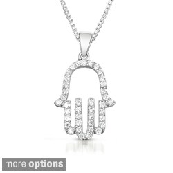 Sterling Silver Cubic Zirconia Outlined 'Hamsa' Necklace