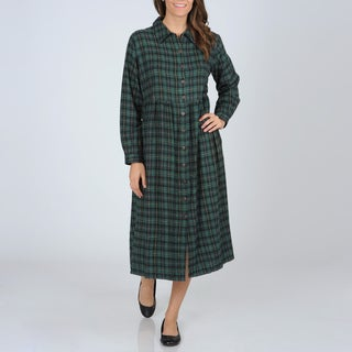 La Cera Women's Green Plaid Flannel Button-front Dress