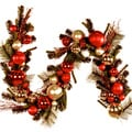 6-foot Red Silver Ornaments Holiday Garland