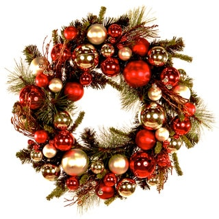 24-inch Red Silver Ornaments Holiday Wreath