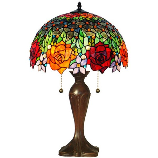 tiffany style jeweled roses table lamp 14959836. Black Bedroom Furniture Sets. Home Design Ideas