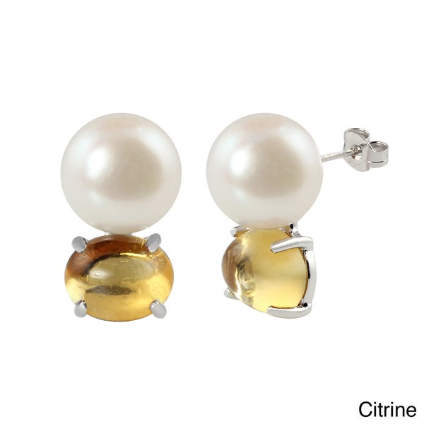 Sterling Silver FW Pearl and Gemstone Cabochon Earrings (11-11.5 mm)