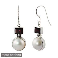 Sterling Silver Mabe Pearl and Gemstone Balinese Earrings (10-10.5 mm)