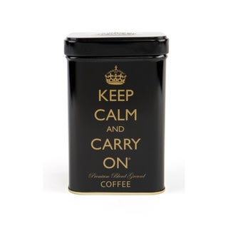 Black 'Keep Calm and Carry On' Ground Coffee Tin