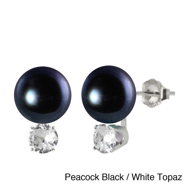 Sterling Silver Colored FW Pearl and Gemstone Earrings (10-10.5 mm)