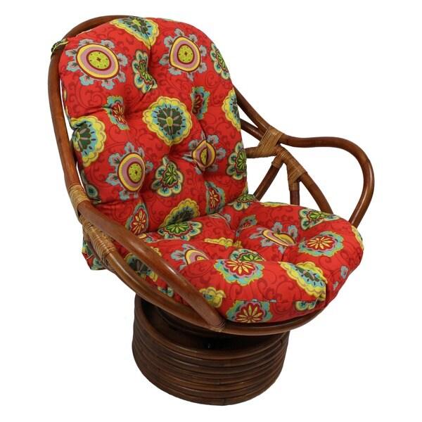 International Caravan Bali Rattan Outdoor Fabric Print Swivel Rocker Chair