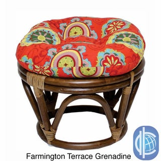International Caravan Bali Rattan Outdoor Fabric Print 18-inch Round Ottoman