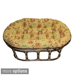 International Caravan Bali Rattan Double Mamasan Chair with Tufted Indoor/Outdoor Cushion