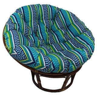 International Caravan Bali 42-inch Outdoor Spun Poly Fabric Print Rattan Papasan Chair