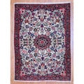 Persian Hand-knotted Tribal Sarouk Ivory/ Navy Wool Rug (3'7 x 5')