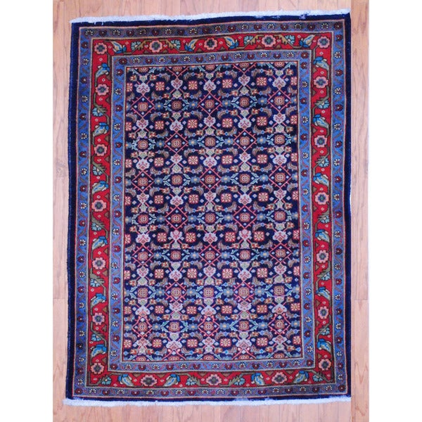 Persian Hand-knotted Tribal Tabriz Navy/ Red Wool Rug (3'8 x 4'7)