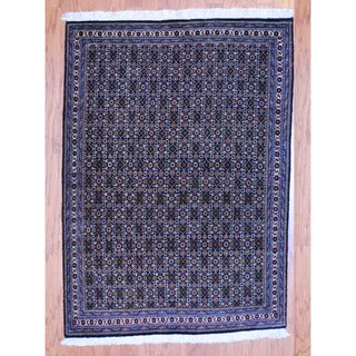 Persian Hand-knotted Tribal Tabriz Black/ Ivory Wool Rug (3'6 x 4'10)