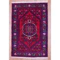 Persian Hand-knotted Tribal Hamadan Red/ Burgundy Wool Rug (3'6 x 5'2)