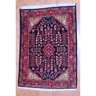 Persian Hand-knotted Tribal Hamadan Navy/ Red Wool Rug (3'7 x 5')