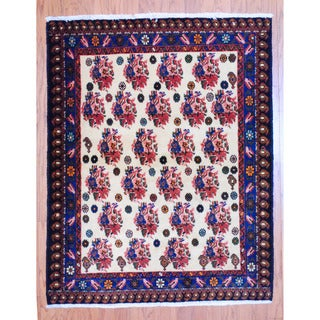 Persian Hand-knotted Tribal Hamadan Ivory/ Blue Wool Rug (3'9 x 4'9)
