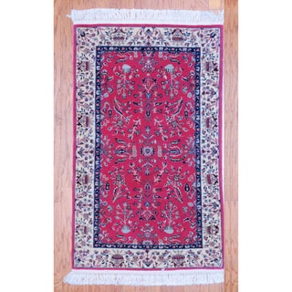 Persian Hand-knotted Tribal Kashan Peach/ Ivory Wool Rug (3'1 x 5'1)