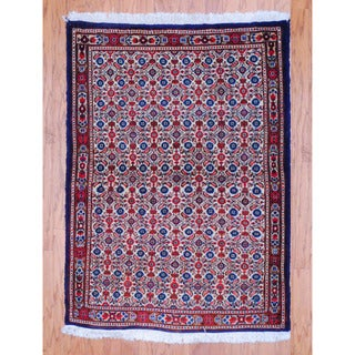 Persian Hand-knotted Tribal Mahal Ivory/ Brown Wool Rug (3'3 x 4'6)