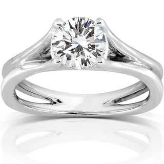 Annello 14k White Gold 8-mm Moissanite Solitaire Engagement Ring