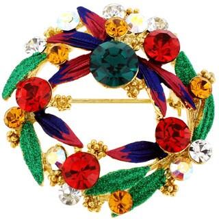 Goldtone Multi-colored Crystal Christmas Wreath Brooch