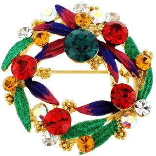 Goldtone Multi-colored Crystal Christmas Wreath Brooch
