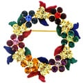 Goldtone Multi-colored Crystal Holiday Wreath Brooch