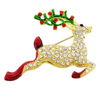 Goldtone Crystal Christmas Reindeer Brooch