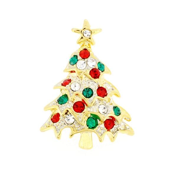 Goldtone Crystal Christmas Tree Tag Brooch