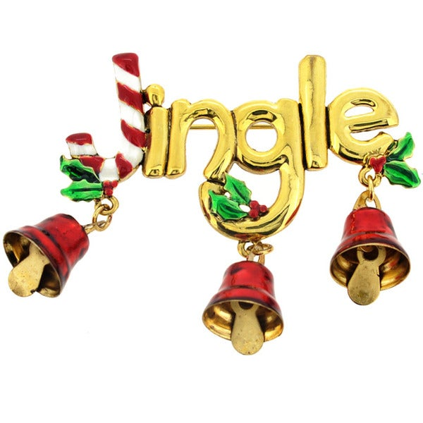 Goldtone Christmas 'Jingle' Bell and Candy Cane Brooch