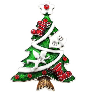 Antiqued Silvertone Crystal Christmas Tree Brooch