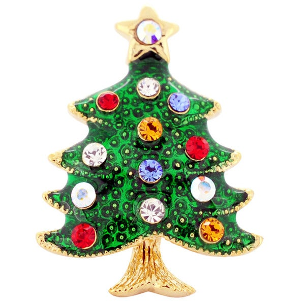 Gold-Tone/Multicolored Crystal Christmas Tree Brooch