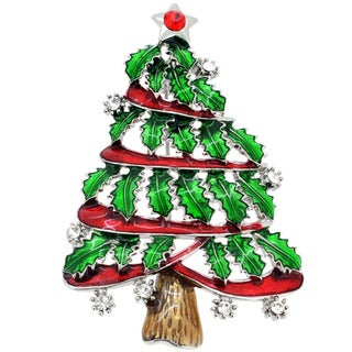 Silvertone Crystal Christmas Tree Brooch