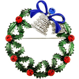 Silvertone Crystal Christmas Wreath and Bell Brooch